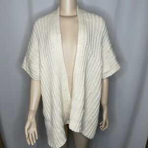 Soft Surroundings Cream Scarf S M Arm Holes Pashmina Cape Shawl Knitted Winter $21.99