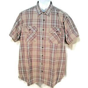 Great Northwest Shirt Mens XLT Button Front Short Sleeve Brown Red Tan Plaid $11.75