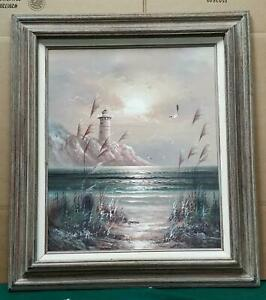 BEAUTIFUL B. DUGGAN LIGHTHOUSE OIL PAINTING 33quot; x 28quot; $135.00