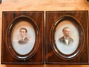 Pair Of Antique Paintings Etchings On Porcelain Quality Framed 1906 C $142.00