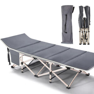 Folding Camping Cots Extra Wide Sturdy Portable Sleeping Bed Gray with Mattress