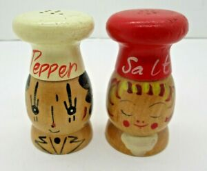 Vintage Wood Chef Salt and Pepper Shakers $12.99