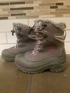 Youth girls Columbia pull on snow boot size 1 gray pink fuzzy lining $46.00