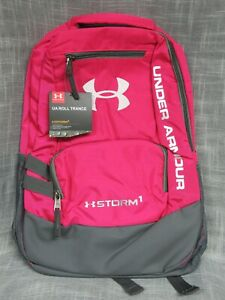 UNDER ARMOUR PADDED BACKPACK STORM1 TROPIC PINK GRAY TRIM NWT $27.99