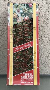 VINTAGE TINSEL GARLAND RED GREEN CHRISTMAS NEW IN BOX WESTERN GERMANY