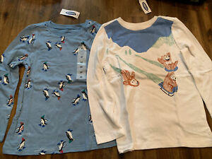 Old Navy Boys Shirts Size 5T Long Sleeve LS Lot of 2 Penguins Bears NEW NWT $11.99