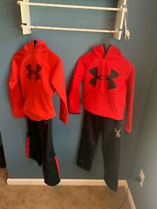 2 kids under armour hoodie sets Red and Black youth Smalls $20.00