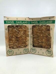2 Boxes Vintage Tinsel Garland GOLD Each Box has 18 Ft Christmas NOS Made in USA