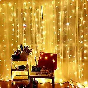 300LED 10ft Curtain Fairy Hanging String Lights LED Home Wedding Party 8 Modes $8.95