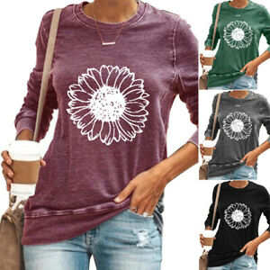 Womens Sunflower Long Sleeve T Shirt Tops Autumn Loose Casual Blouses Plus Size $17.28