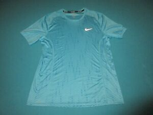 NIKE RUNNING Mens Aqua Blue Short Sleeve Shirt Size Large L $16.99