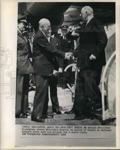 1960 Press Photo Presidents Eisenhower and Charles de Gaulle at National Airport