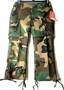 Woodland Camouflage Women#x27;s Camouflage Stretch Capri Pants 1040 Rothco 5 6 28quot;