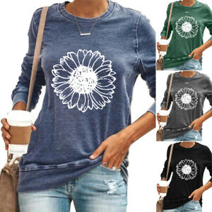 Womens Sunflower Long Sleeve T Shirts Tops Autumn Loose Casual Blouses Plus Size $17.28