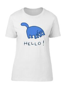 Cute Happy Cat Cartoon Hello Women#x27;s Tee Image by Shutterstock