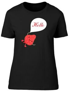 Strawberry Saying Hello Women#x27;s Tee Image by Shutterstock
