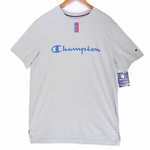 Champion Mens Gray Script Spellout Double Dry T Shirt NWT Size Large $14.94