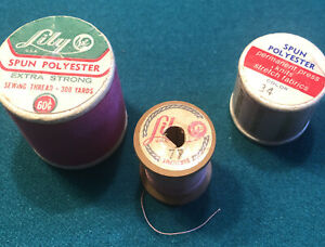 VINTAGE Lily SEWING THREAD 3 Spools Polyester Spun #77 34 Pink $6.00