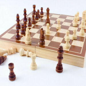 New 30*30cm Standard Game Vintage Wooden Chess Set Foldable Board Great Gift $16.98