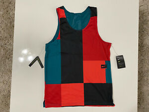NIKE DRY REVERSIBLE COLOUR BLOCK RUNNING TANK TOP SIZE L LARGE CJ4744 379 NEW $35.99