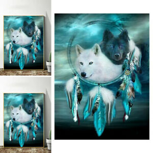 5D Wolf Dreamcatcher Print Diamond Painting Drill Kits Embroidery Home Art Decor $8.92