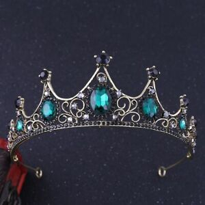 Baroque Wedding Bridal Tiara Handmade Vintage Queen Green Crystal Crown Headband $10.99