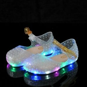 Summer Girls LED Crystal Shoes Girl Jelly Sandals Bow knot Glowing Luminous Shoe $26.40