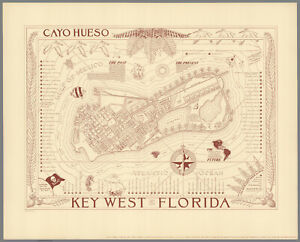 Vintage 1930s Map Key West Florida 2nd Edition  Ready to Frame $26.00
