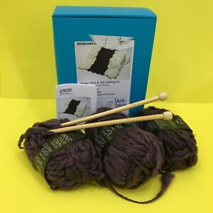 DIY Knitting Blanket Kit Super Soft Thick amp; Thin Bulky Dark Purple #7600 z50 b13 $22.49