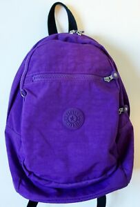KIPLING Seoul small crinkle nylon purple BACKPACK purse monkey missing $29.99