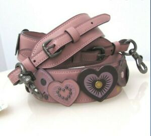 COACH LEATHER HEART APPLIQUE DUSTY ROSE NOVELTY STRAP 29542