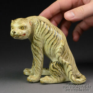 Japanese Satsuma Porcelain Figure of a Tiger Signed  Stamped 19th C