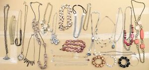 Vintage to Now Costume Necklace Pendants GOLD TONE Jewelry Lot of 27 Pieces