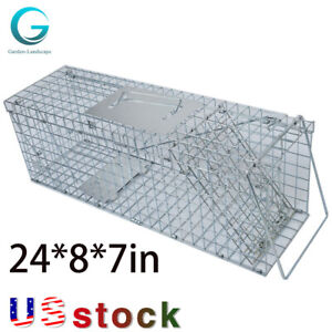 Humane Animal Trap Steel Cage Rodent Control Skunk Possum Raccoon 24*8*7in Grid