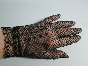 vintage French crocheted lace Gloves black