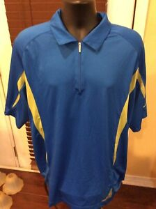 Nike Golf Nike Fit Dry Mens Size XL 1 4 Zip Blue Short Sleeve Pullover $24.99