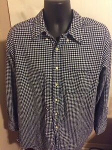 Brooks Brothers Sport Shirt Mens Button Down XL Blue White Plaid Long Sleeve $19.99