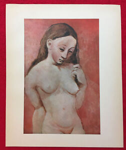 Pablo PicassoPink Figure Nude Offset Lithograph 1946 Plate signed Vintage $27.00