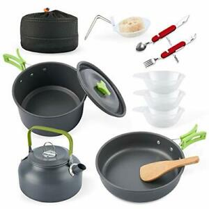 eatcamp Camping Cookware Camp Cookware Set with Kettle Compact Camping Alumin...