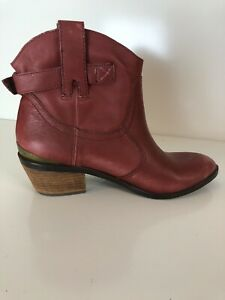 Lucky Brand Red Leather Boots Size 7.5 Vintage Womens Red Boots