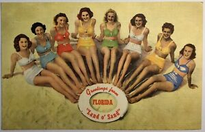 Florida Pin Up Beach Swimsuit Ladies Posing With Life Buoy 1949 Pensacola $28.50
