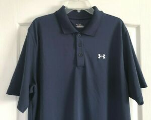 Under Armour Golf Polo Shirt Heatgear Short Sleeve Solid Navy Blue XL $11.04