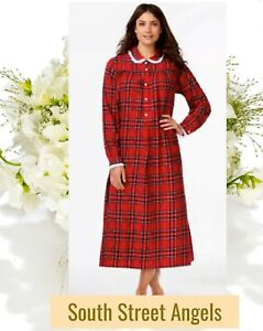 LANZ OF SALZBURG RED PLAID Peter Pan Collar LONG FLANNEL Nightgown 1X $71.10