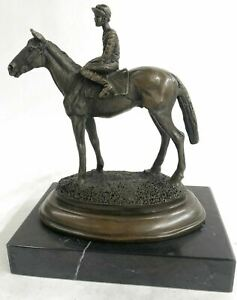 WONDERFUL PURE BRONZE HORSE AND JOCKEY RACEHORSE STATUE SCULPTURE LARGE NUMBER 1 $149.00