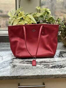 Authentic Coach Handbag Preowned Large Red Leather Bag