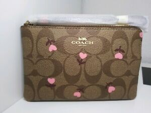 COACH C3301 Wristlet Signature brown with pink hearts floral Valentine's Day