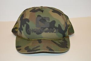 Vintage 1980s Chemsearch Full Camouflage Mesh Double Snapback Trucker Hat