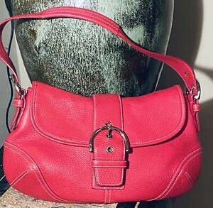 Coach pebbled pink leather flap front shoulder bag with silver hardware