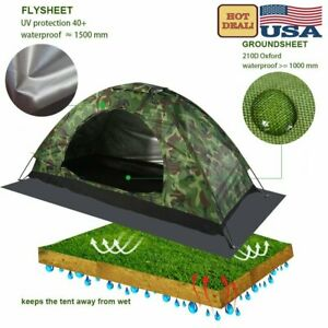 New 1 3 Person Man Camouflage Tent Single Layer Waterproof Camping Hiking Travel