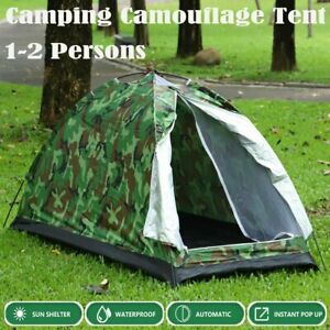 2021 New 2 Man Camouflage Tent Single Layer Waterproof Camping Hiking Travel US